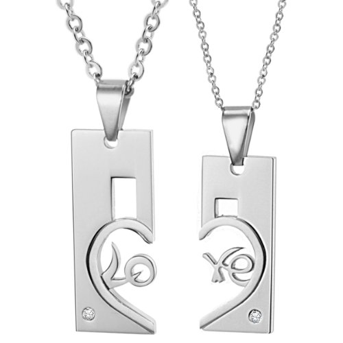 Opk Jewellery Necklaces Shinning Cubic Zirconia Inlaid Heart Drop Stainless Steel Neckwear Chains Pendants