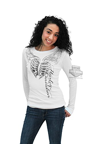 Harley-Davidson Womens Sketched Rib Cage Heart w/Thumbholes White Long Sleeve T-Shirt - XL