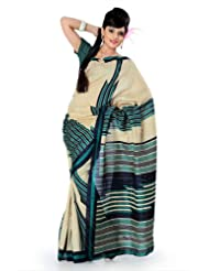 Designersareez Women Bhagalpuri Silk Printed Cream / Teal Saree With Unstitched Blouse(833)