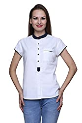 Dhrohar White and Blue Cotton Shirt for Women