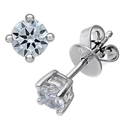 Ariel 18ct White Gold Stud Earrings, IJ/I Certified Diamonds, Round Brilliant, 0.50ct