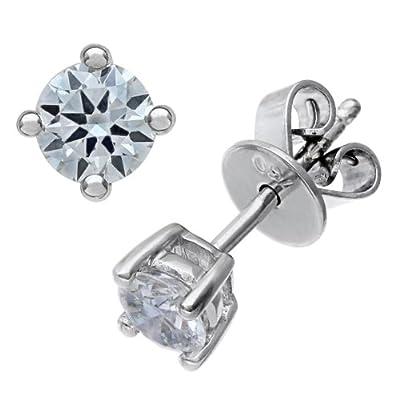Ariel 18ct White Gold Stud Earrings, IJ/I Certified Diamonds, Round Brilliant, 0.50ct