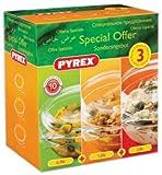 Pyrex 3-Piece Round Casserole Set, 0.75 L, 1.25 L, 2.0 L Casseroles