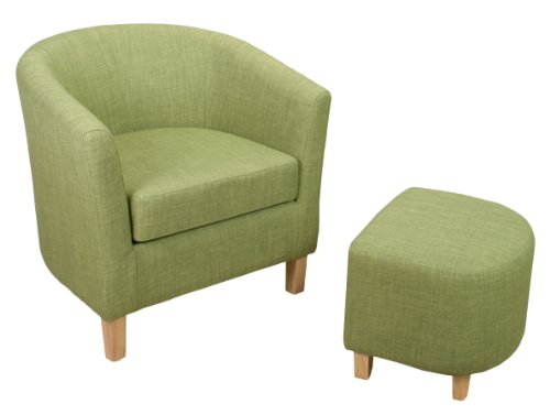 Shankar Linen Effect Tub Chair Set with Footstool, Lime