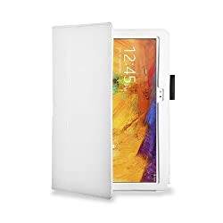 HOKO White Leather Flip Case Cover Stand with magnetic closure for Samsung Galaxy Note 10.1 2014 Edition (Auto wake and sleep)