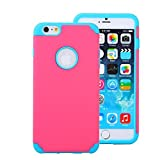 For iPhone 6 Plus Case, Nancy's Shop PC + Silicone 2-Piece Hybrid Impact Armored Protective Case Cover Skin for iPhone 6 Plus With Screen Protector + stylus (Hot pink/blue)