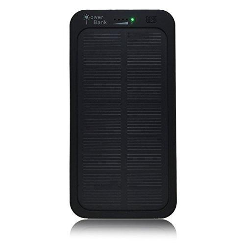 TaoTech ソーラー 充電器 バッテリー チャージャー iPhone iPad スマートフォン スマホ タブレット アンドロイド アイパッド 対応 モバイルバッテリー リチウムイオンポリマー バッテリー 大容量 5000mAh 防水 防塵 耐衝撃 便利 極薄 軽量 アウトドア 向け 便利 極薄 軽量 (ブラック)