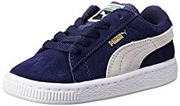 PUMA Suede Kids Classic Sneaker (Infant/Toddler/Little Kid/Big Kid) , Peacoat/Team Gold, 1.5 M US Little Kid