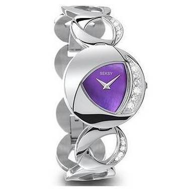 Seksy Eclipsed Purple MOP Dial Steel Bracelet Ladies Watch 4270 + Free Heart Pendant Gift. (Sponsors' of Take That: Look Back, Don't Share)