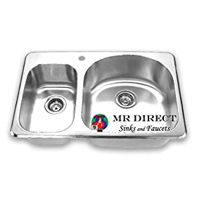 Topmount Stainless Steel Kitchen Sink Double Offset Bowl