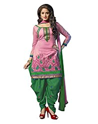 Lookslady Embroidered Pink Chanderi Salwar Suit