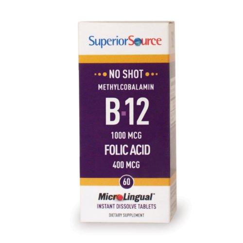 Superior Source Vitamin B12 (Methyl) W/Folic Acid (60 Tablets)