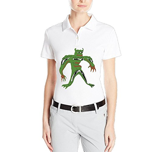 NUBIA Frog Sodier Women's Casual Polo T Shirt White Size L