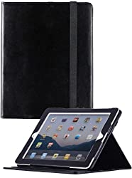 HHI Re-Elegant Muti-Function Viewing Stand Case For iPad 4 with Retina display / The new iPad (3rd Generation) / iPad 2 - Black (Built-in magnet for sleep and wake feature)(include HHI Stylus Pen)