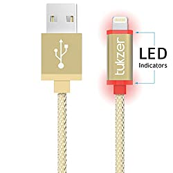 Tukzer (Apple MFI Certified) Nylon Braided with LED Charging Indicator 3.2ft 8 Pin Lightning to USB 2.4Amp Premium Fast Charge & Data Sync Cable (Gold)