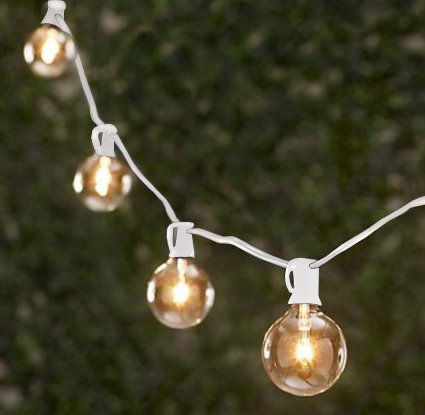 Spring Rose(TM) 25 Clear Patio String Globe Lights With White Cord (Large Bulb String Lights)