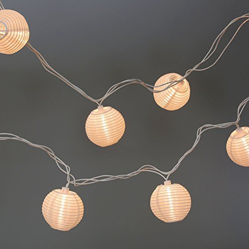 Set of 10 White Indoor/Outdoor Mini Oriental Style Nylon Lantern Plug-in String Lights - Expandable to 150 Lights