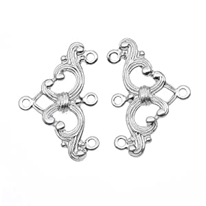 Silver Plated Ornate Triple Bead Strand Reducer Connector (2)