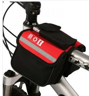 Red Mtb Front Frame Tube Bicycle Bag Mountain Bike Cycling Pannier 2 Sides Pouch Pack Bandy-Colored Bag Basket front-32617