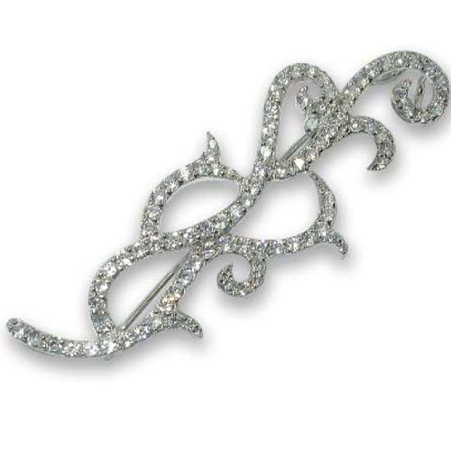 C.Z. (.925) STERLING SILVER OUTLINE RHODIUM PLATED PIN (Nice Holiday Gift, Special Black Firday Sale)