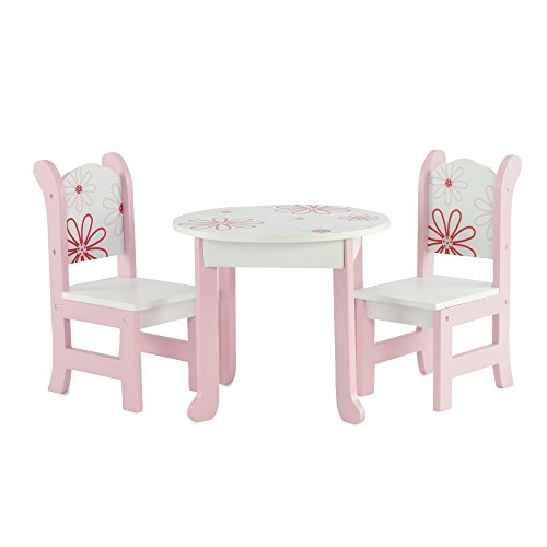 18 inch doll furniture fits 18 american girl dolls floral table and chairs. Black Bedroom Furniture Sets. Home Design Ideas
