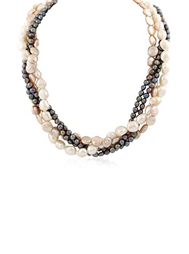 Splendid Pearl Grey & White Cultured Pearl Torsade Necklace