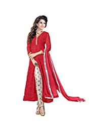 Women's Red & Cream Georgette Leheriya Printed Semi Stitched Suit
