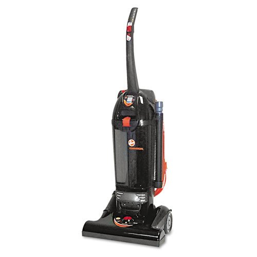 Hoover Products - Hoover - Commercial Bagless Hush Upright Vacuum, 15 lbs, Black - Sold As 1 Each - Twin ChamberTM bagless system helps maintain maximum power and traps dirt in a sealed chamber for convenient disposal. - Bagless system has Teflon coated HEPA filtration. - Multi-speed selection with PowerSurge for use in heavily soiled areas. - Toggle switch to operate unit in standard mode and Hush Mode, with a quieter noise level. - Easily lowers 180 degrees, making it adept at getting unde