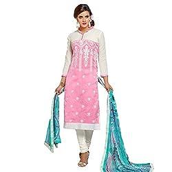 Udantya Women's Chanderi Embroidered Salwar Suit Unstitched Dress Materials (Pink)