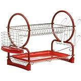 Premier Housewares 2-Tier Dish Drainer - 56 cm - Red