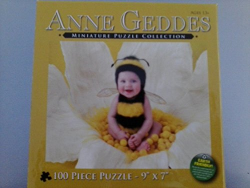 "Anne Geddes Miniature Puzzle Collection 100 Pc 9"" x 7"" Puzzle - Baby in Bumble Bee Outfit Sitting on Flower - 1"