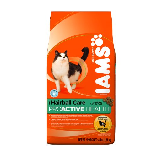 See IAMS Hairball Care Proactive Health Dry Cat Food, 4-Pound Bags (Pack of 5)