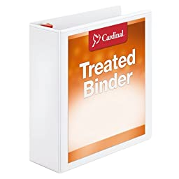 Cardinal Treated Binder ClearVue Locking Slant-D, 3 Inch, White (32130)