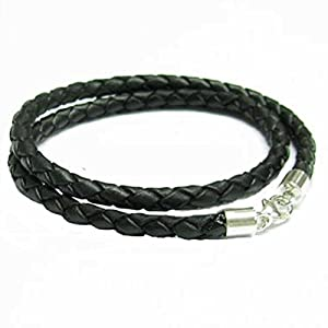 Amazon.com: Sterling Silver Black Bolo Braided Leather 3mm Cord Choker