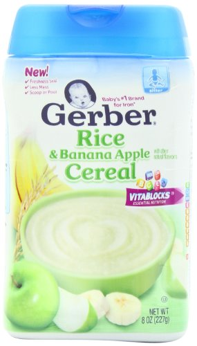 Gerber Baby Cereal Rice, Banana Apple, 8 Ounce (Pack of 6)