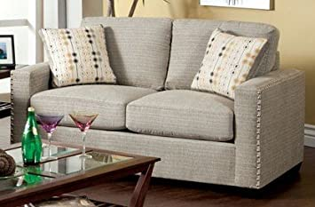 Wolver Love Seat with Pillows In Pewter by Furniture of America