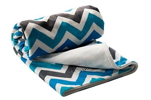 Berlando- chevron baby blanket, blue and gray, ultra-soft baby boy blanket, #1 ranked in baby blankets for boys, minky baby blankets, stroller blanket, ideal baby shower gift, 100% polyester