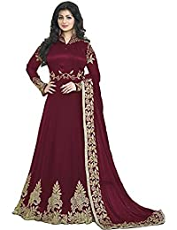 ARYAN FASHION Designer Beautiful Mahroon Embroidered Work Long Anarkali Suit Semi-Stitched Suit ( Bottom Unstitched)