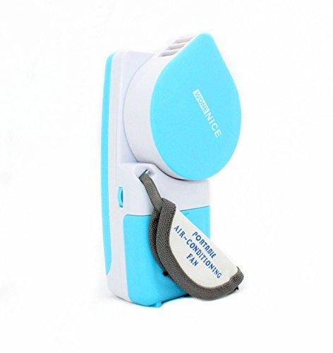 WoneNice Portable Unprofound Fan & Mini-air Conditioner, Runs On Batteries Or USB-Blue