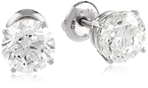 Certified Platinum, Round, Diamond 4-Prong Stud Earrings (4 cttw, G-H Color, VS2 Clarity)