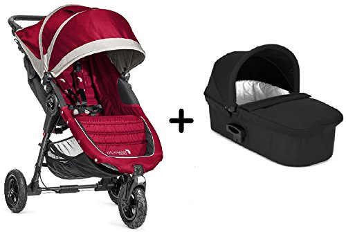 Baby-Jogger-2015-City-Mini-GT-Single-Stroller-CrimsonGray-Baby-Jogger-Deluxe-Pram-Black-Complete-Bundle