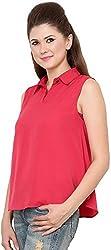 Rvestir Women's Poly Crepe Tunic Top (OM092_XL, Red)