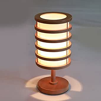 Modern wooden decorated shade table lamp bedside lamp for Bedside table lamp shades
