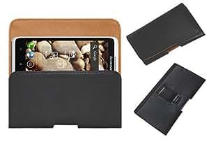 Acm Belt Holster Leather Case For Lenovo S890 Mobile Cover Holder Clip Magnetic Closure Black