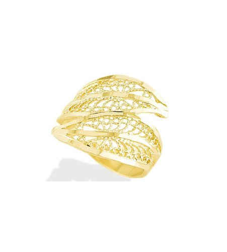 New Women's 14k Solid Yellow Gold Filigree Band Ring