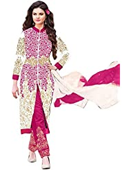 RADHEY ARTS PINK AND WHITE EMBROIDERED SEMI STITCHED DRESS MATERIAL