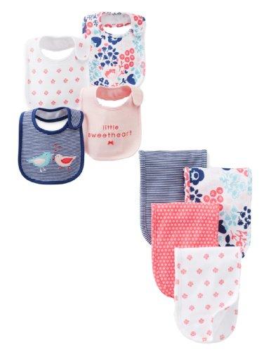 Carters Teething Floral Birdie Bibs & Matching Floral Burp Cloth Set Baby Girls