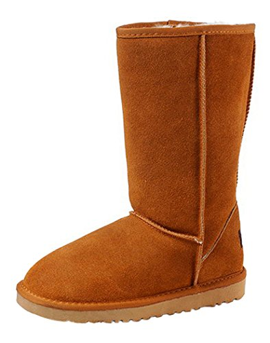 Milanao Women Winter Cow Leather Pure Color Antiskid High Snow Boots(6 B(M)Us,Chestnut)