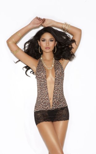 Ladies Womens Animal Leopard Print Lingerie Mini Dress with Black Lace - Slip - Chemise - One Size - UK 6-12