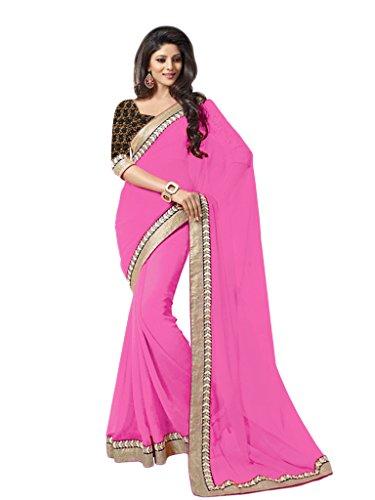 Vasu Saree Women's Pink Cotton Silk Designer Saree  available at amazon for Rs.848